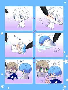 Drawn by 悠夜 ... Free! - Iwatobi Swim Club, haruka nanase, haru nanase, haru, nanase, haruka, makoto tachibana, makoto, tachibana, free!, iwatobi, orca, killer whale