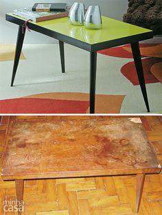 Já apareceram aqui no blog alguns 'antes e depois' de mesas feitos por nós: mesa de aço, mesinha dobrável, mesinha de apoio e até mesa de TV antiga. Em todos eles, nós colocamos a mão na massa e transformamos móveis que seriam descartados em peças...