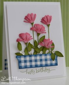 Lovely Gingham And Flowers Card...