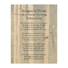 Stopping by Woods Snowy Evening Robert Frost Poem Wood Wall Art