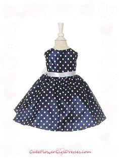 Navy Blue Cute Polka Dots Baby Girl Dress