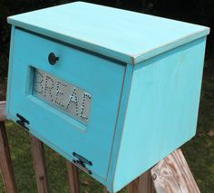 Rustic Antiqued Turquoise Bread Box Bin wooden Punched Tin Storage Primitive Cupboard counter top Country Kitchen handmade wood woodworking