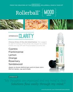 Clarity Blend for Rollers and Diffuser Drams. Substitute Sandalwood for Cedarwood.