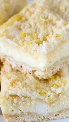 Lemon Shortbread Crumble Bars ~ The best lemon dessert ever...These bars are the perfect balance of buttery, sweet, tangy, creamy, crunchy, and EASY. You have to make them!