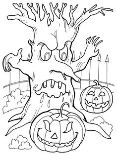 Ausmalbild Schauriges Trio Halloween Halloween Coloring
