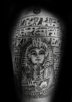 Egyptian Hieroglyphs Mens King Tut Upper Arm Tattoo