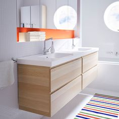 GODMORGON/ODENSVIK wash-stand with two drawers in white stained oak
