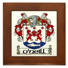 """O'Neill Coat of Arms Framed Tile by CafePress by CafePress. $15.00. Two holes for wall mounting. Quality construction frame constructed of stained Cherrywood. Frame measures 6"""" X 6"""" x 0.5"""" with 4.25"""" X 4.25"""" tile. Rounded edges. 100% satisfaction guarantee return policy. The beautiful ancestral Coat of Arms created in vibrant colour for the Irish surname ONeill complete satisfaction guaranteed or your money back"""