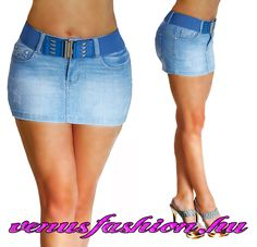 0bb1abe0ad Divatos farmer mini szoknya övvel S M L XL - Venus fashion női ruha  webáruház Gazda, Farmerszoknya