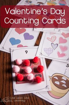 These free printable Valentine's Day number cards go from 1 to 10 with different festive items on each card. Makes for fun Valentine's Day counting practice! Valentines Games, Valentines Day Activities, Valentines Day Party, Valentine Day Crafts, Valentine Theme, Holiday Crafts, Valentine's Day Printables, Printable Cards, Math Activities For Kids