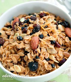 Granola made with whole grain flakes from Edenfoods