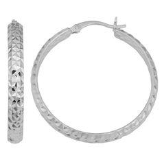Fremada 14k Gold 4x30-mm Diamond-cut Hoop Earrings