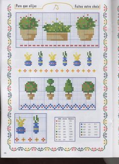 Potted plants pattern / chart for cross stitch, crochet, knitting, knotting, beading, weaving, pixel art, and other crafting projects.