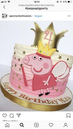 Peppa Pig is really a British isles preschool cartoon tv set series guided along Tortas Peppa Pig, Bolo Da Peppa Pig, Cumple Peppa Pig, Peppa Pig Birthday Cake, Birthday Cake Girls, 2nd Birthday Parties, Baby Birthday, Peppa Pig Cakes, Birthday Ideas
