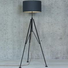 Studio Tripod Floor Lamp in Matt Black made by Jim Lawrence Standard Lamps, Modern Floor Lamps, Forged Steel, Tripod Lamp, Metal Working, Modern Design, Interior Design, Studio, Lighting