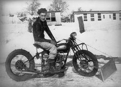 Awesome snow plow set up on this vintage motorcycle! Description from pinterest.com. I searched for this on bing.com/images