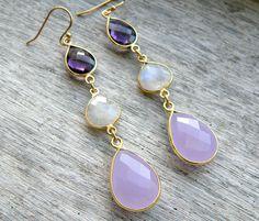 Gold Purple Mystic Quartz, Rainbow Moonstone and Pink Chalcedony Earrings