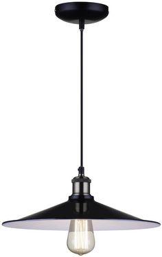 Industriële hanglamp zwart, wit 35cm diameter