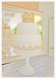 Princess crown cake topper and gold trim by Grey Likes Baby