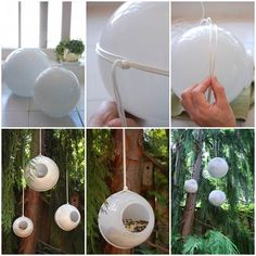 10 Creative DIY Bird Feeders • A great round-up on DIY Bird Feeder projects from around the web with lots of Tutorials! Including this project on how to make a bird feeder from glass shades from 'the art of doing stuff'.