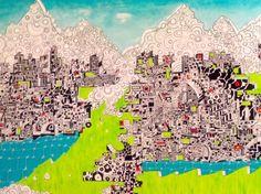 St Moritz 140x120 - gesso inchiostro e acrilico su tela