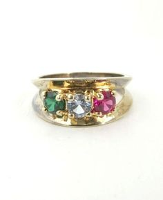 Vintage Quartz Band Ring Gold Plated Ring Sterling Silver Multi Colored Stones Ring Casual Band Ring Size 6 - pinned by pin4etsy.com