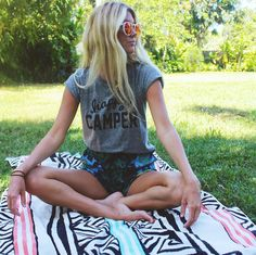Triblend heather grey jersey loose tee with 'HAPPY CAMPER' graphic. View size guide Seen on Kate Hudson, Daily Mail, Reese Witherspoon, @saltyblonde, Megan Fox, Huff Post Style, Jamie Chung, Khloe Kar