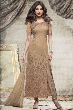 Beige PartyWear Priyanka Churidar Net Designer Salwar Suit