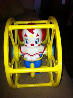 Vintage Bozo the Clown rolling toddler toy. My cousin Deb got this when she was very little.