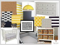 Little boy room-love the white, yellow and grey.