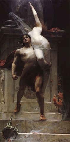 Solomon Joseph Solomon (1860-1927)  Ajax and Cassandra  Oil on canvas  1886  Ballarat Fine Art Gallery (Ballarat, Victoria, Australia)    ___    Cassandra, a daughter of the Trojan king had spurned the advances of Apollo, who punished her by ordaining that although she should always make true prophecies they would not be believed. The Trojans rejected her warnings that Troy was in imminent danger and when the Greeks sacked the city Cassandra fled to the Temple of Athena. LOVE THIS!