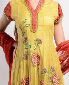 Buy YELLOW AND RED SHORT ANARKALI By : Abhilasha & Abhishek Online