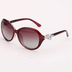 Womens Polarized Oval Shaped Sunglasses Dark Red