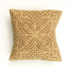 16 x 16 / Organic Beautiful Handmade Applique / Yellow Brown / Pillow or Cushion Cover - 28 on Etsy, $22.00
