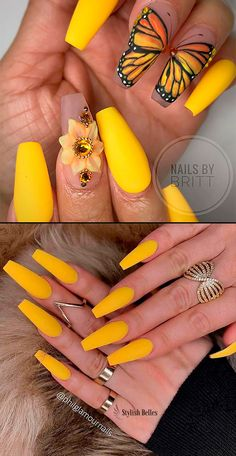 Nail - Amazing bright matte yellow coffin nails for spring time! - - Amazing bright matte yellow coffin nails for spring time! Cute Spring Nails, Spring Nail Colors, Acrylic Nail Tips, Cute Acrylic Nails, Acrylic Spring Nails, Nail Art Designs, Nail Designs Spring, Gel Manicure Price, Ninas Nails