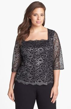 Alex Evenings Three Quarter Sleeve Metallic Lace Blouse (Plus Size) available at #Nordstrom