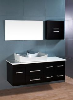 Deluxe Design Of Black Paint Wooden Rectangle Wall Mount Vanity Cabinet Ideas With A Modern White Porcelain Vessel Sink Attach On Cultured Marble Countertop And Different Size Drawer Storage Using Brushed Nickel Hardware, Exceptionally Interesting Design Of Wall Mount Vanity Ideas: Bathroom, Furniture