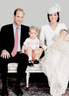 The Royal Family on July the day of Princess Charlotte's Christening ~ Prince William, Duke of Cambridge, Prince George, Catherine, Duchess of Cambridge and Princess Charlotte