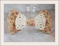 Shabby chic Vintage style cotton Bow Hair Clip by MelodyOfCuteness,