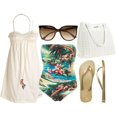 At the beach, created by pickleparty on Polyvore