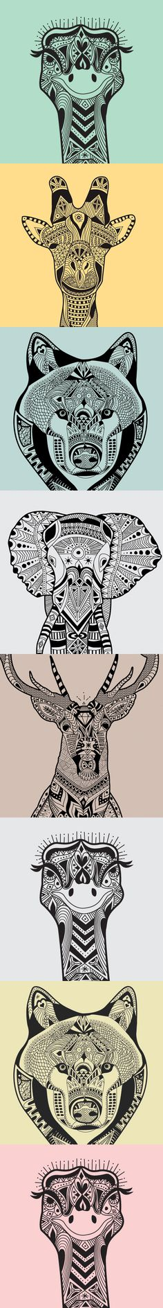 wild animals zentangle patterns - Zentangle - More doodle ideas - Zentangle…                                                                                                                                                                                 More