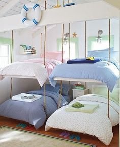 Hanging Bunk Beds ~ No Way! That's pretty neat....Don't see a way to get up to the top ones, but I'm sure there's a way. :)