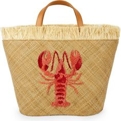 Aranaz Lobster straw tote ($160) ❤ liked on Polyvore featuring bags, handbags, tote bags, evening purses, fringe purse, tote handbags, straw handbags and summer straw handbags