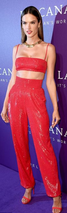 Who made  Alessandra Ambrosio's cross sandals, sequin pants, and red crop top?