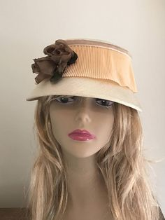 Adorable Vintage Pill Box Hat Linen Fabric with Pleated