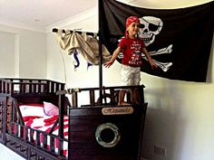 Pirate bed for my boys                                                       … Baby Boy Rooms, Toddler Rooms, Pirate Bedroom, Pirate Bedding, Pirate Ship Bed, Pirate Kids, Bedroom Themes, Diy Bed, Kids Room