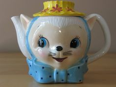 Vintage Royal Sealy Miss Priss Kitty Cat Ceramic Teapot - Made in Japan