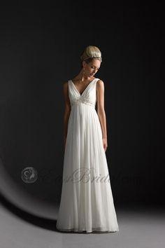 Couture V-neckline sleeveless chiffon empire waist wedding dress sewd0016