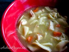 Turkey Noodle Soup from Andrea's Recipes - Lots of Homemade Turkey Soup recipes Homemade Turkey Soup, Leftover Turkey Soup, Leftovers Recipes, Turkey Recipes, Soup Recipes, Recipies, Turkey Noodle Soup, Chili Soup, Recipe Filing
