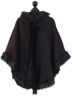 Ladies Italian hooded woollen poncho with faux fur in black